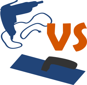 SVG image of a drywall screw gun vs a plaster trowel