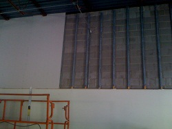 Ultralight drywall hung from scissor lift